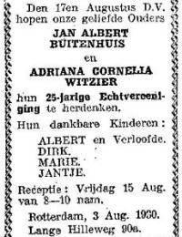 1930-08-17 - 25 jarig huwelijk Jan Albert Buitenhuis en Adriana Cornelia Witzier