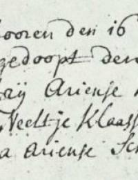 1732-01-20 - Doopinschrijving Claas Ariense Hardijzer